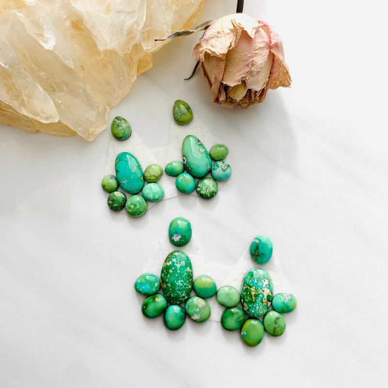 Small Lime Green Mixed Sonoran Lime Turquoise, Set of 28 Background
