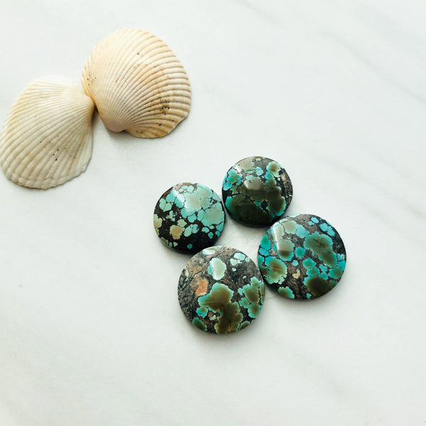 Small Round Giraffe Turquoise, Set of 4