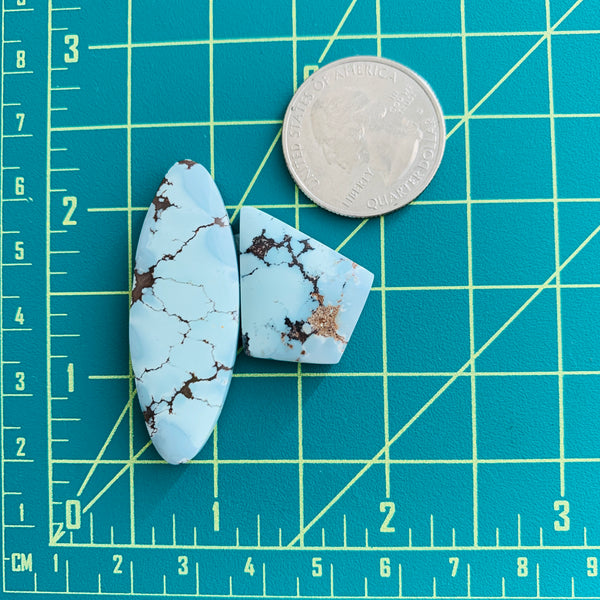 Large Faint Blue Mixed Sand Hill, Set of 2 Dimensions