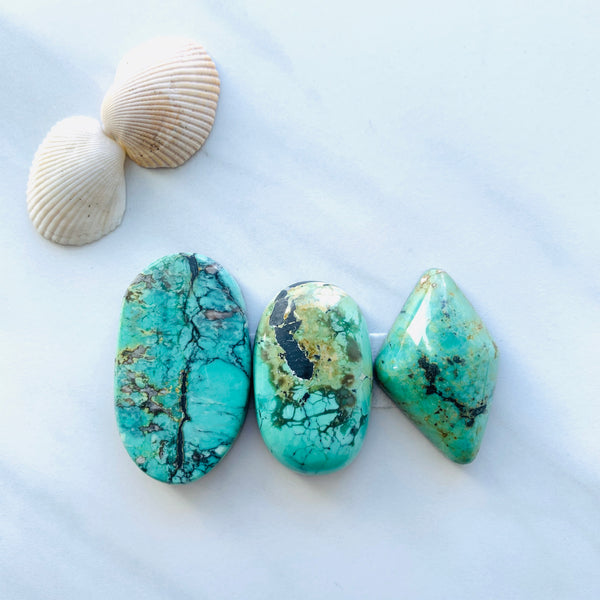 Large Lake Green Crescent Lake Variscite, Set of 3