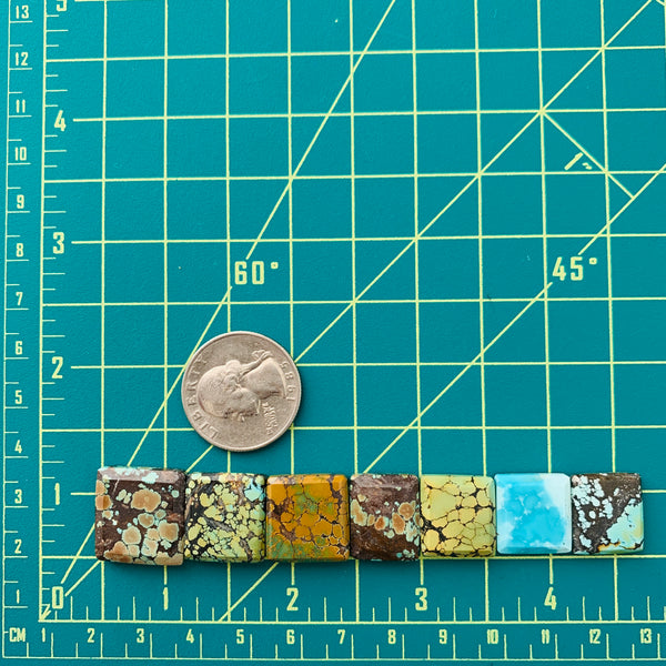 Large Mixed Square Mixed Turquoise, Set of 7 Dimensions