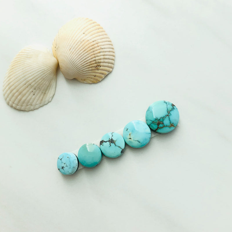 Small Round Treasure Mountain Turquoise, Set of 5