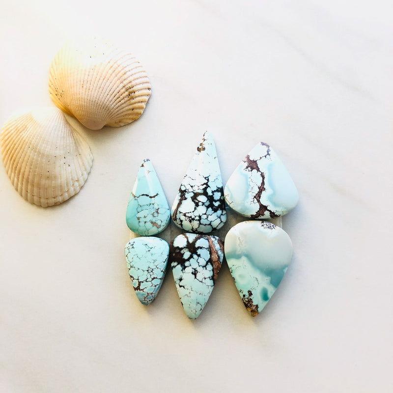 Medium Teardrop Sand Hill Turquoise, Set of 6