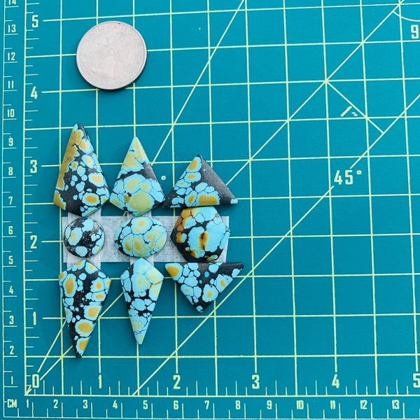 Large Sky Blue Mixed Giraffe, Set of 9 Dimensions