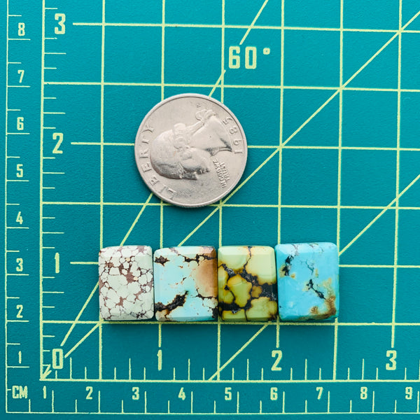 Small Mixed Bar Mixed Turquoise, Set of 4 Dimensions