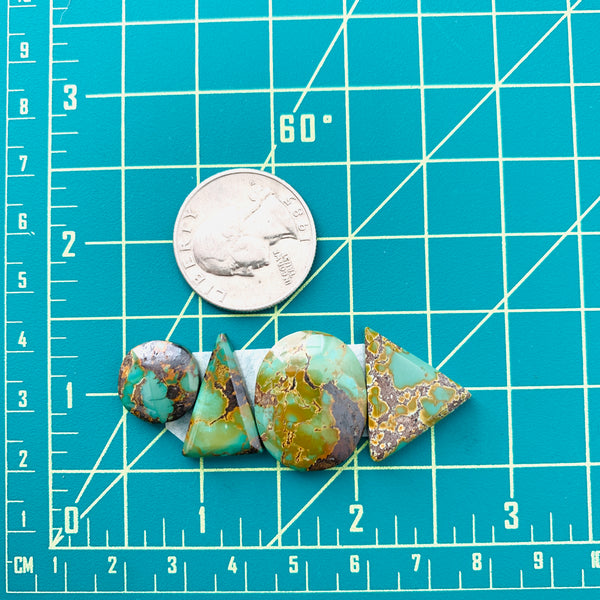 Medium Deep Green Mixed Woodan Mountain Turquoise, Set of 4 Dimensions