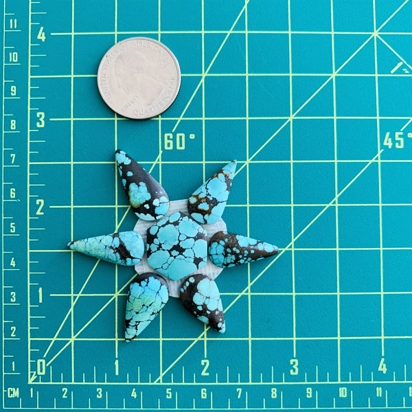 Large Ocean Blue Mixed Treasure Mountain, Set of 7 Dimensions