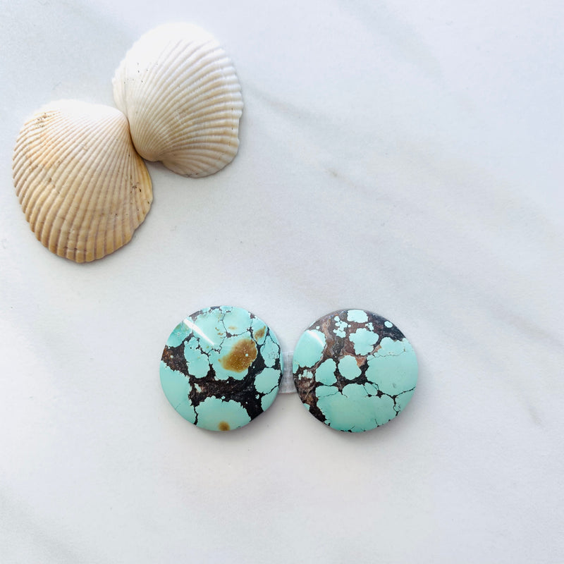 Medium Faint Green Yungai Turquoise, Set of 2