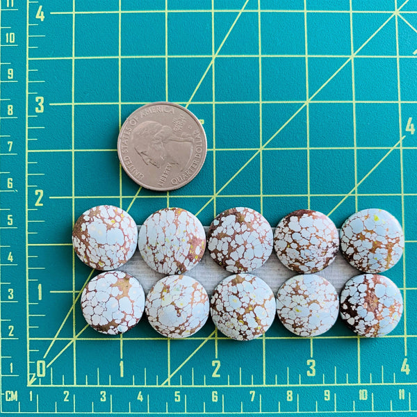 Small Faint Blue Round Sand Hill, Set of 10 Dimensions