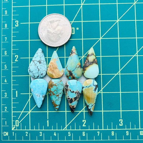 Medium Mixed Teardrop Mixed Turquoise, Set of 8 Dimensions