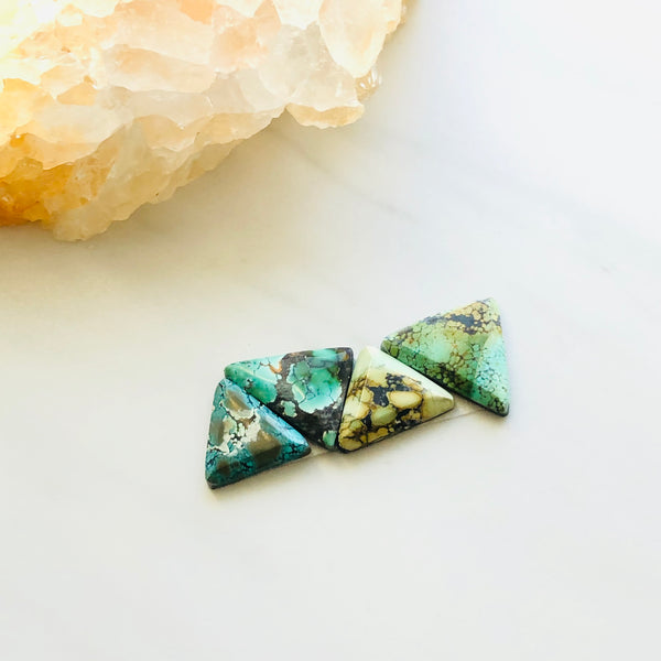 Small Triangle Giraffe Turquoise, Set of 4