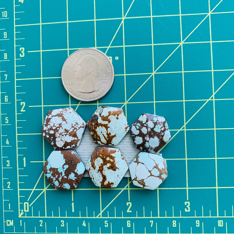 Medium Faint Blue Mixed Hexagon Turquoise, Set of 6