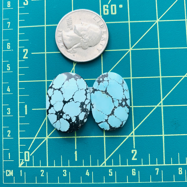 Medium Sky Blue Oval Yungai Turquoise, Set of 2 Dimensions