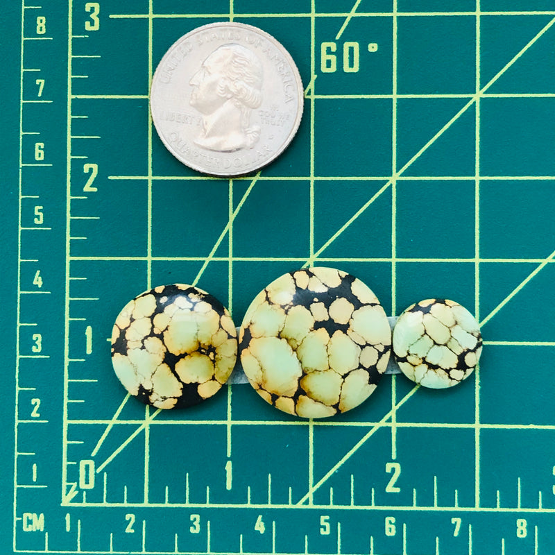 Medium Round Treasure Mountain Turquoise, Set of 3