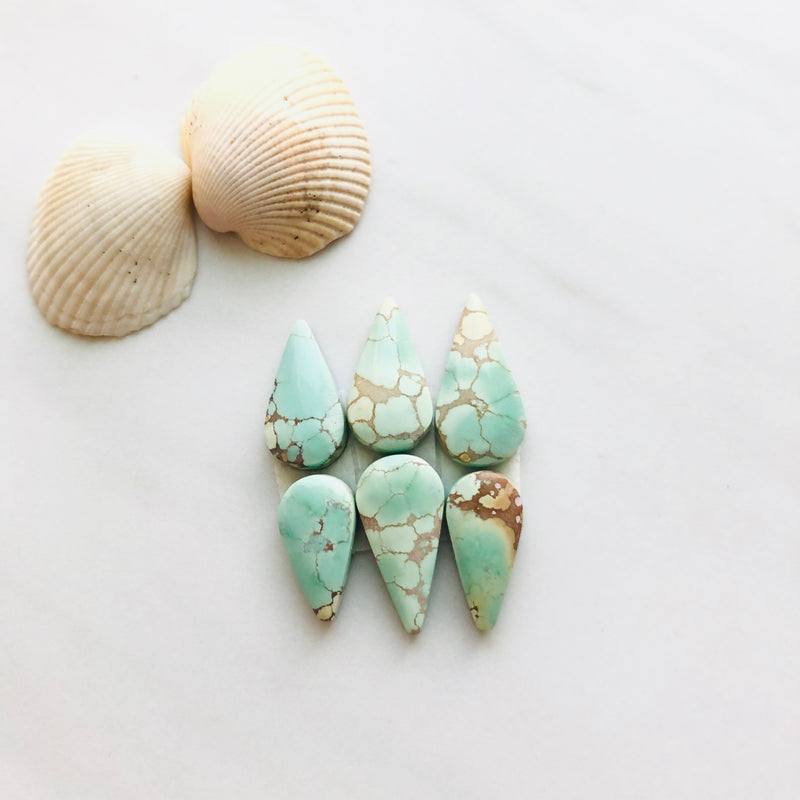 Small Teardrop Sand Hill Turquoise, Set of 6