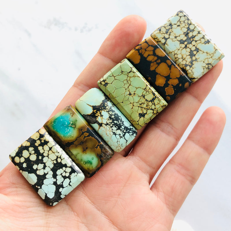 Medium Rectangle Treasure Mountain Turquoise, Set of 6