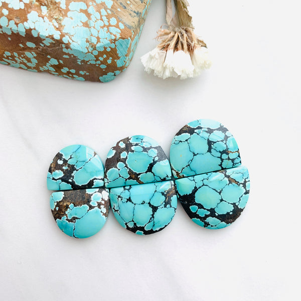 Large Sea Green Half Moon Treasure Mountain Turquoise, Set of 6 Background
