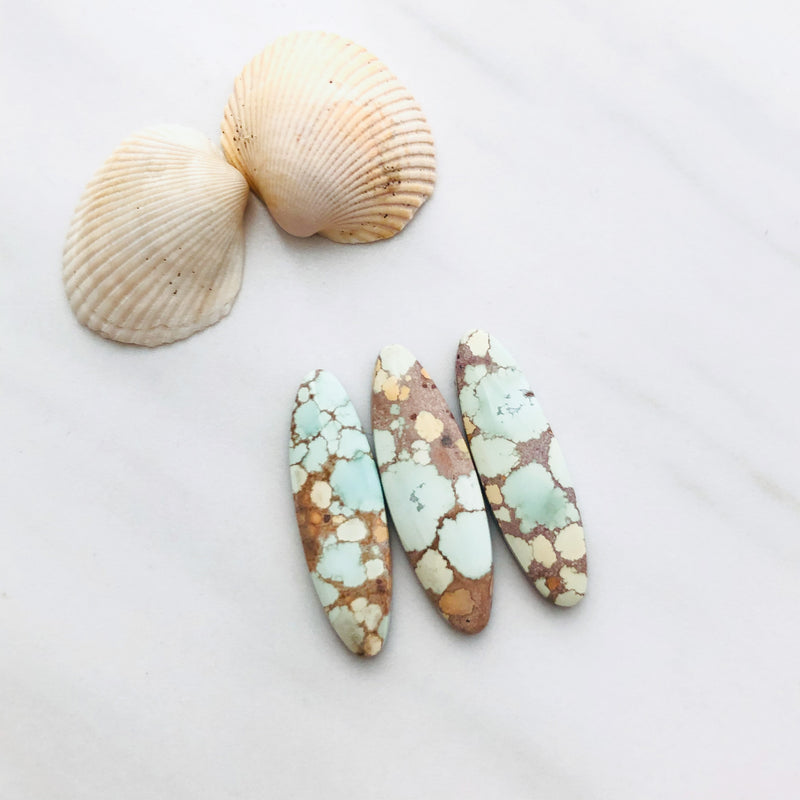 Medium Oval Sand Hill Turquoise, Set of 3
