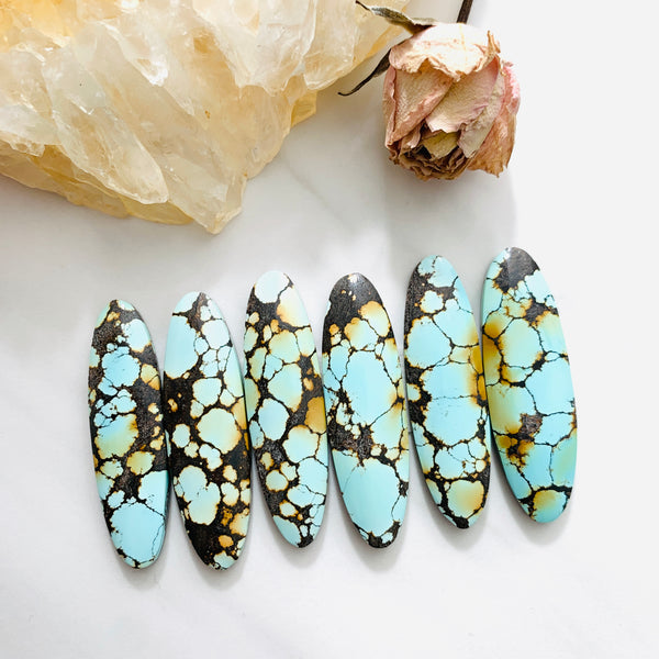 Large Faint Blue Surfboard Treasure Mountain Turquoise, Set of 6 Background