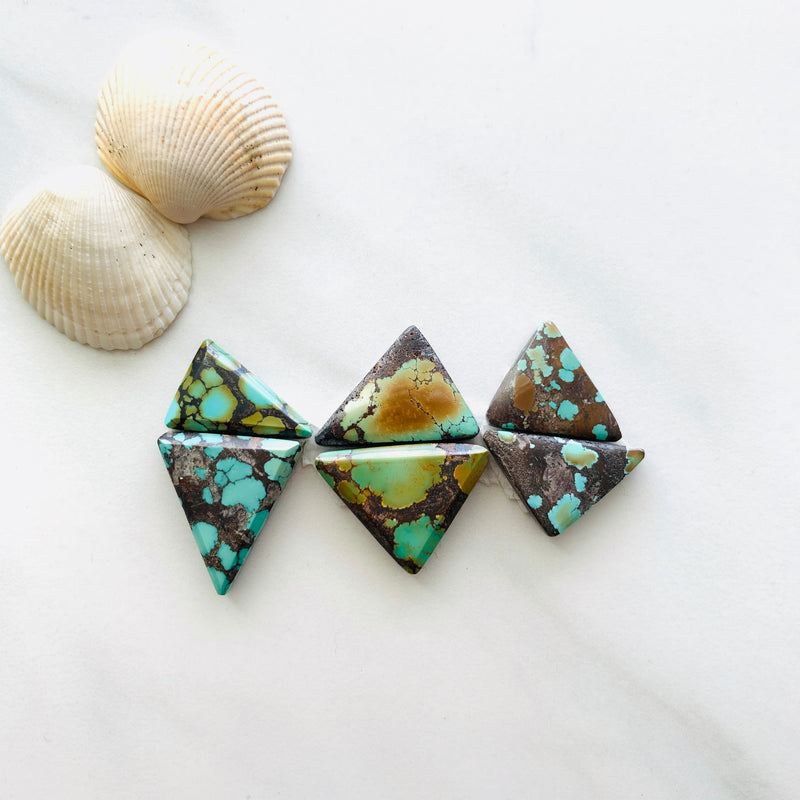 Medium Triangle Treasure Mountain Turquoise, Set of 6