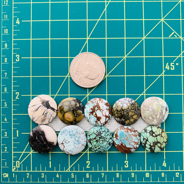 Medium Mixed Round Mixed, Set of 10 Dimensions