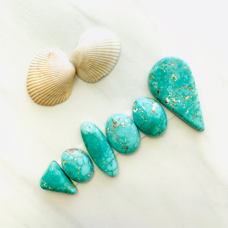 Large Mint Green Namtso Lake Turquoise, Set of 6