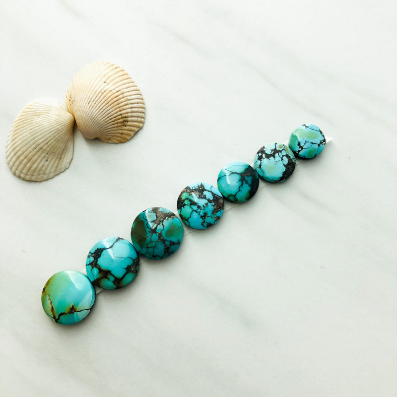 Small Round Yungai Turquoise, Set of 7