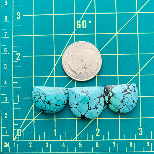 Large Sky Blue Half Moon Yungai Turquoise, Set of 3 Dimensions