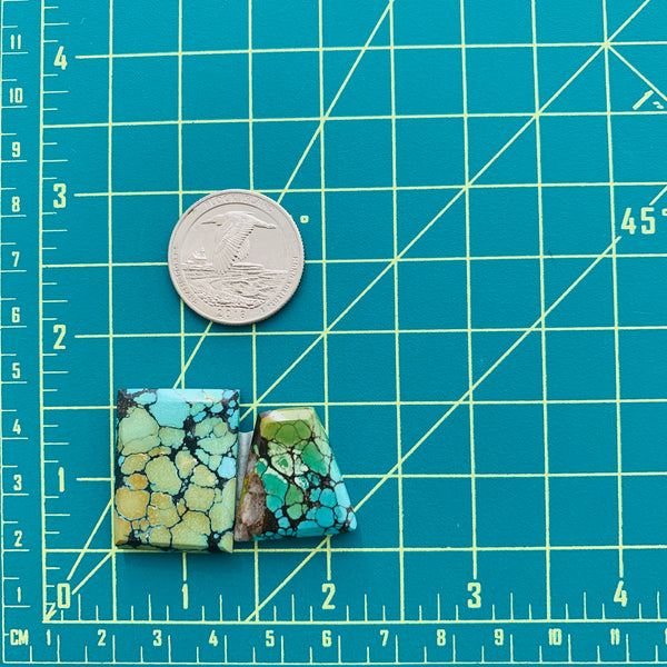 Large Sea Green Mixed Treasure Mountain, Set of 2 Dimensions