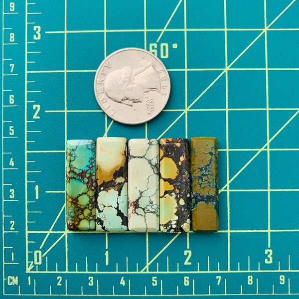 Medium Mixed Bar Mixed Turquoise, Set of 5 Dimensions