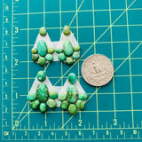 Small Lime Green Mixed Sonoran Lime Turquoise, Set of 28 Dimensions