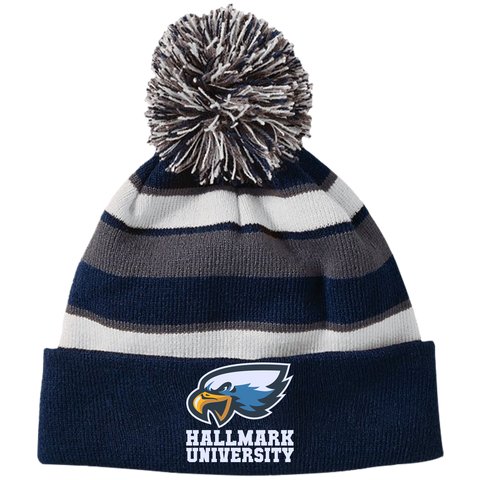 HU Eagles Holloway Striped Beanie with Pom