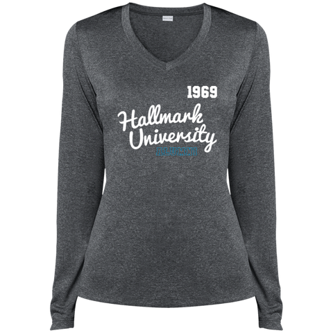 HU Alumni Sport-Tek Ladies' LS Heather Dri-Fit V-Neck T-Shirt
