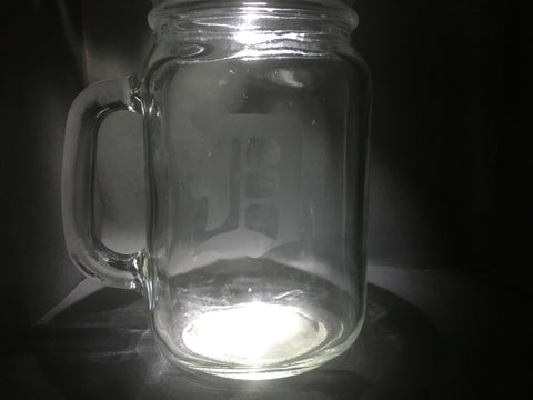 "Engraved ""D"" Mason Jar"