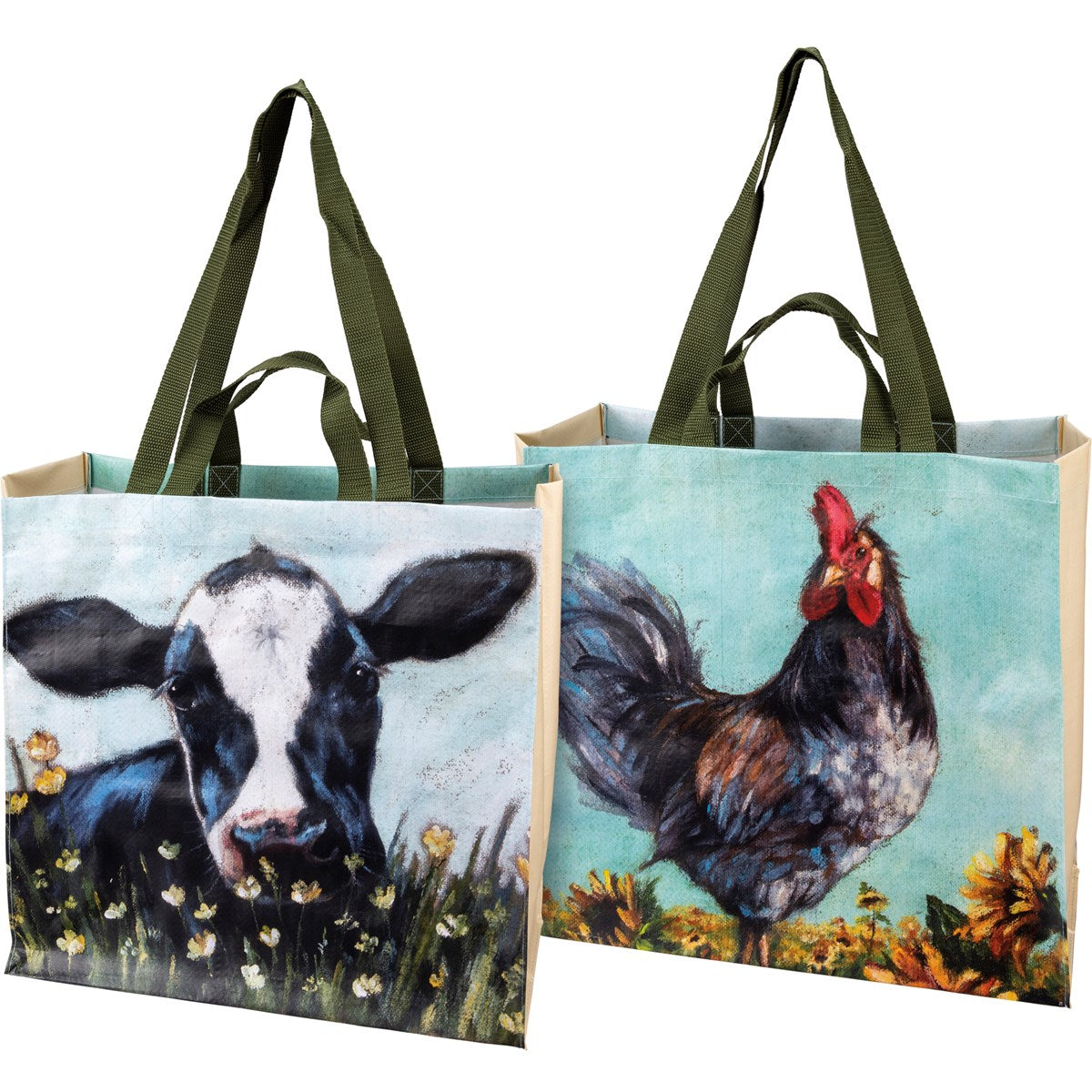 Double Sided Market Tote - Rooster & Cow