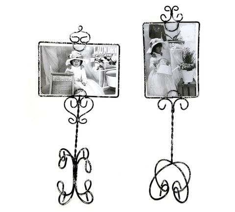 Set of Two Black and Silver Wire Picture Frame