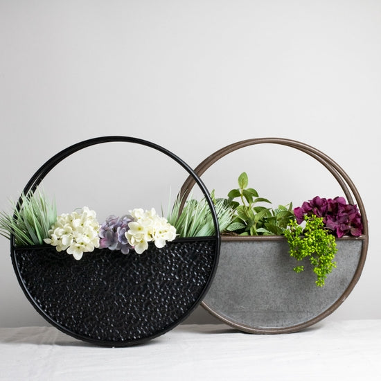 Small Round Metal Flower Pot