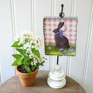 MINI CHOCOLATE BUNNY ON GINGHAM PRINT