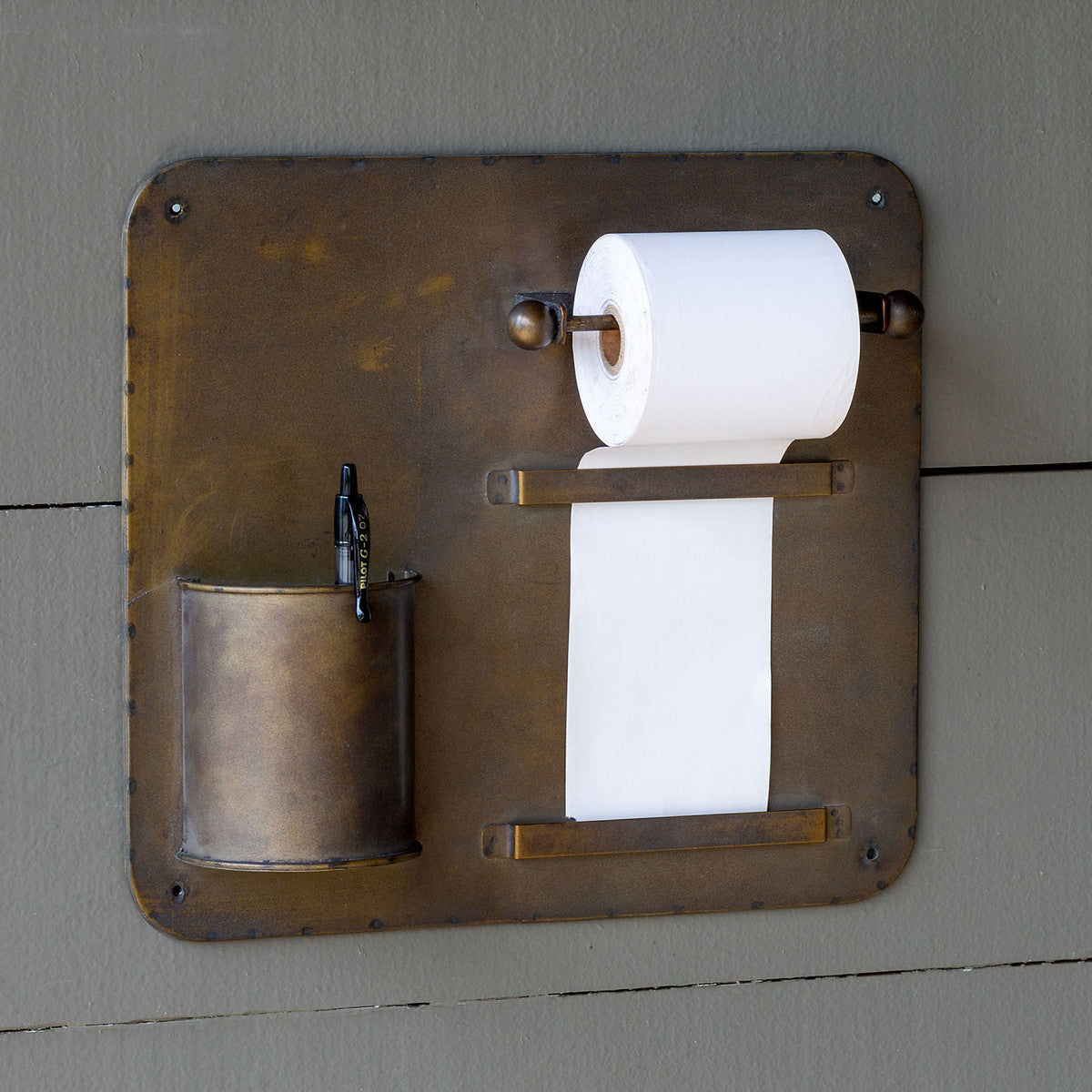 Vintage-Style Rolling Wall Notepad with Pencil Cup