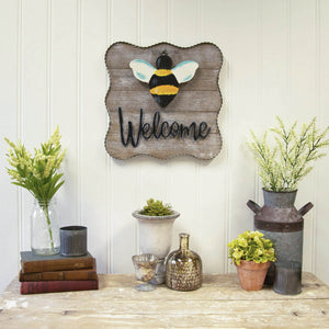"""Welcome"" Metal/Wood Sign"