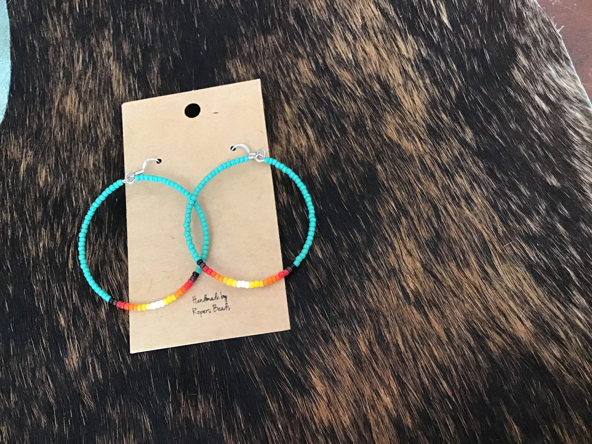 Turquoise Summer Medium Hoops