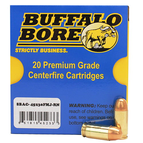 Buffalo Bore  45 ACP Low Flash 230 Grains Full Metal Jacket FMJ Round Nose RN (Per 20) - RTP Armor
