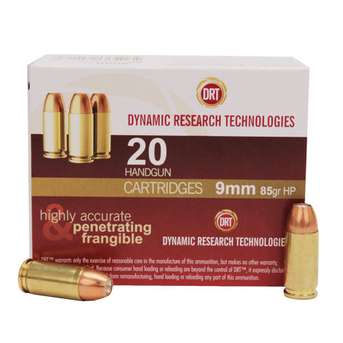 Dynamic Research Technologies 9mm Luger 85 Gr JHP Frangible (Per 20) - RTP Armor