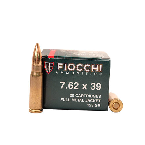 Fiocchi  7.62x39mm Shooting Dynamics Ammunition 124gr Full Metal Jacket Per 20 - RTP Armor