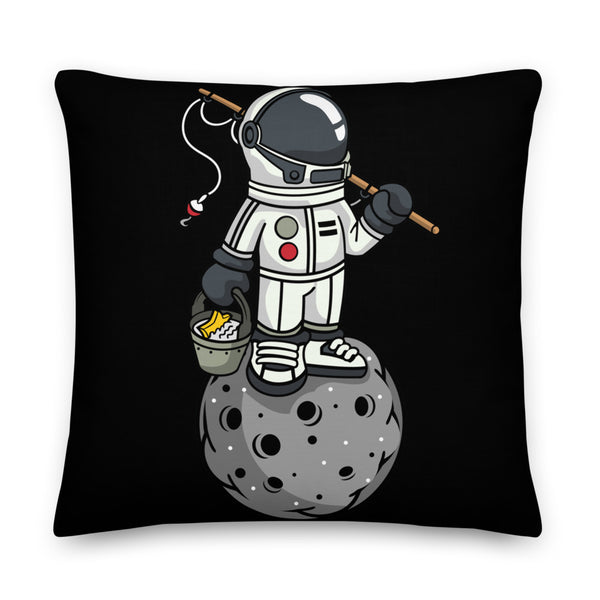 Fishing Astronaut on Moon - Premium Throw Pillow