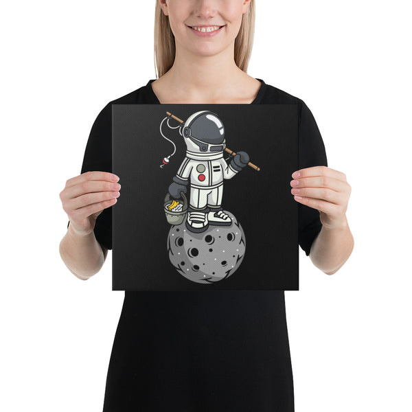 Fishing Astronaut on Moon - Wrapped Canvas