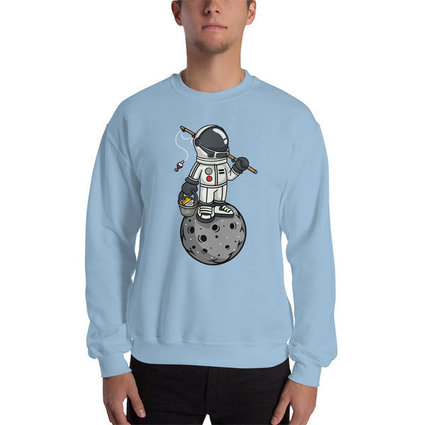 Fishing Astronaut on Moon - Gildan Unisex Sweatshirt
