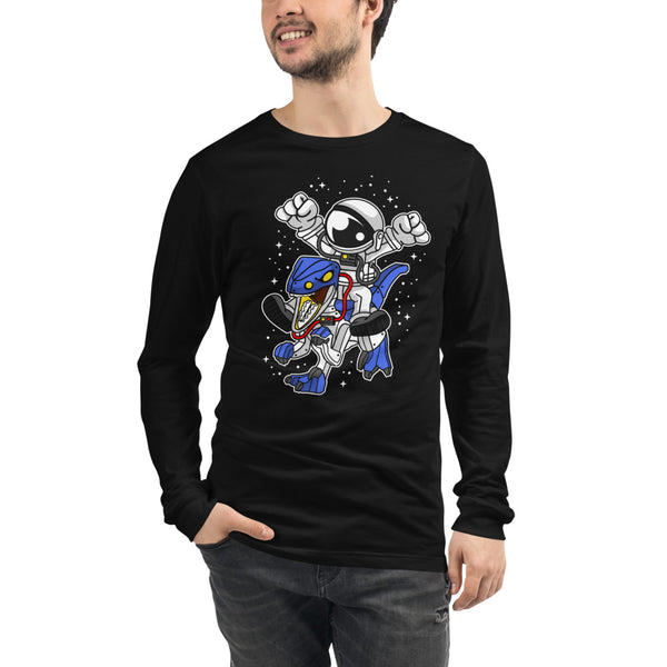 Astronaut Riding Robot Dinosaur - Bella Unisex Long Sleeve Tee