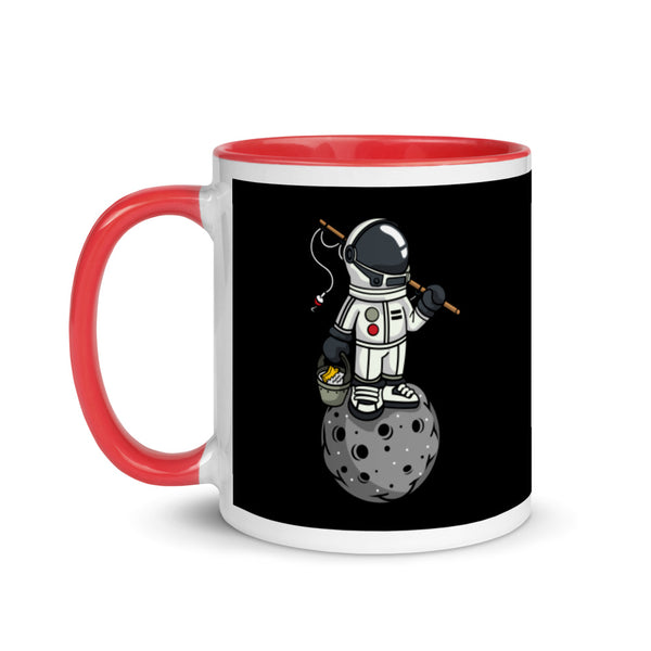 Fishing Astronaut on Moon - Mug with Color Inside