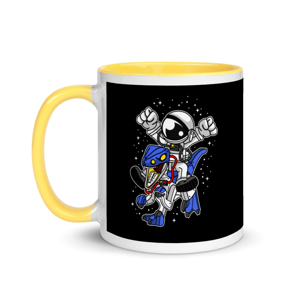 Astronaut Riding Robot Dinosaur - Mug with Color Inside